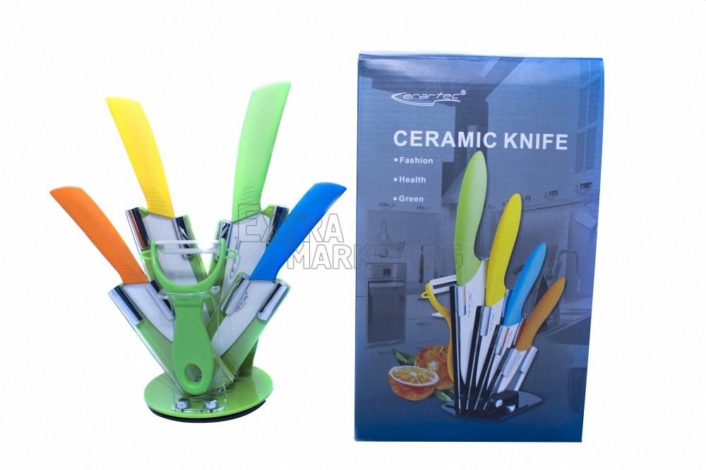 Комплект от 4 керамични ножа, белачка и стойка