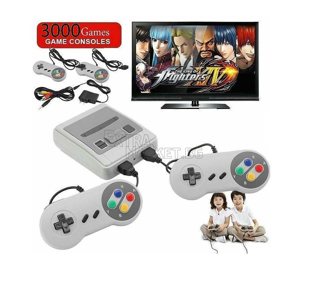 Конзола с вградени 3000 игри с два контролера, добре познатите Танкове, Супер Марио и много други