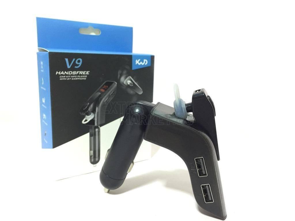 Bluetooth V9 FM трансмитер с отделна слушалка за ухото