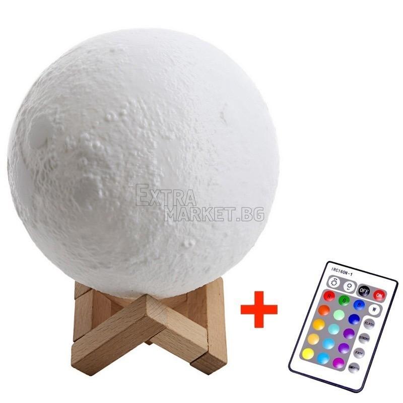 LED Озаряваща луна-лампа 3D Moon light със сензорно управление