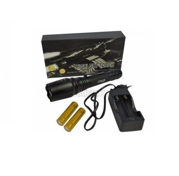 Мощен акумулаторен метален CREE LED T6 фенер със зуум функция